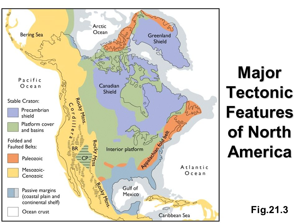 Fig.21.3 Major Tectonic Features of North America