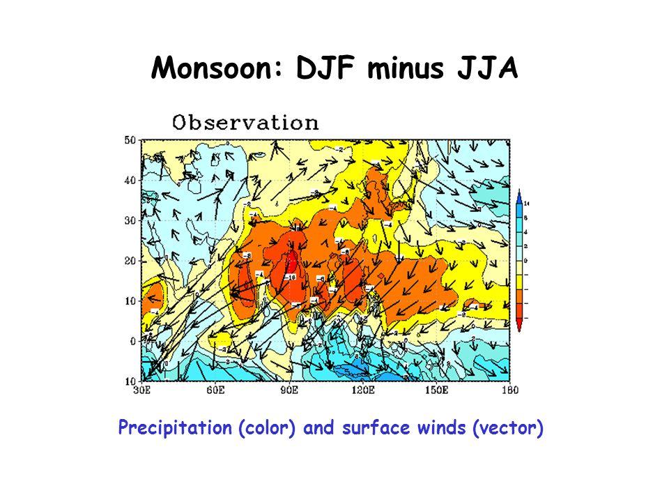 Monsoon: DJF minus JJA Precipitation (color) and surface winds (vector)