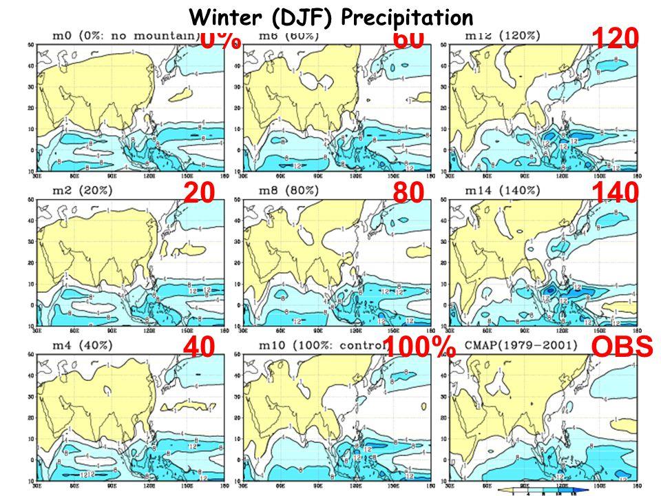 100%OBS 0% 20 40 60 80 120 140 Winter (DJF) Precipitation