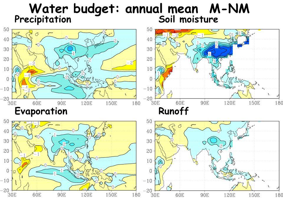 Water budget: annual mean M-NM PrecipitationSoil moisture RunoffEvaporation