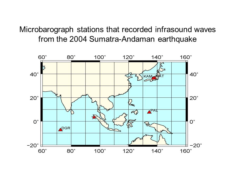 Microbarograph stations that recorded infrasound waves from the 2004 Sumatra-Andaman earthquake