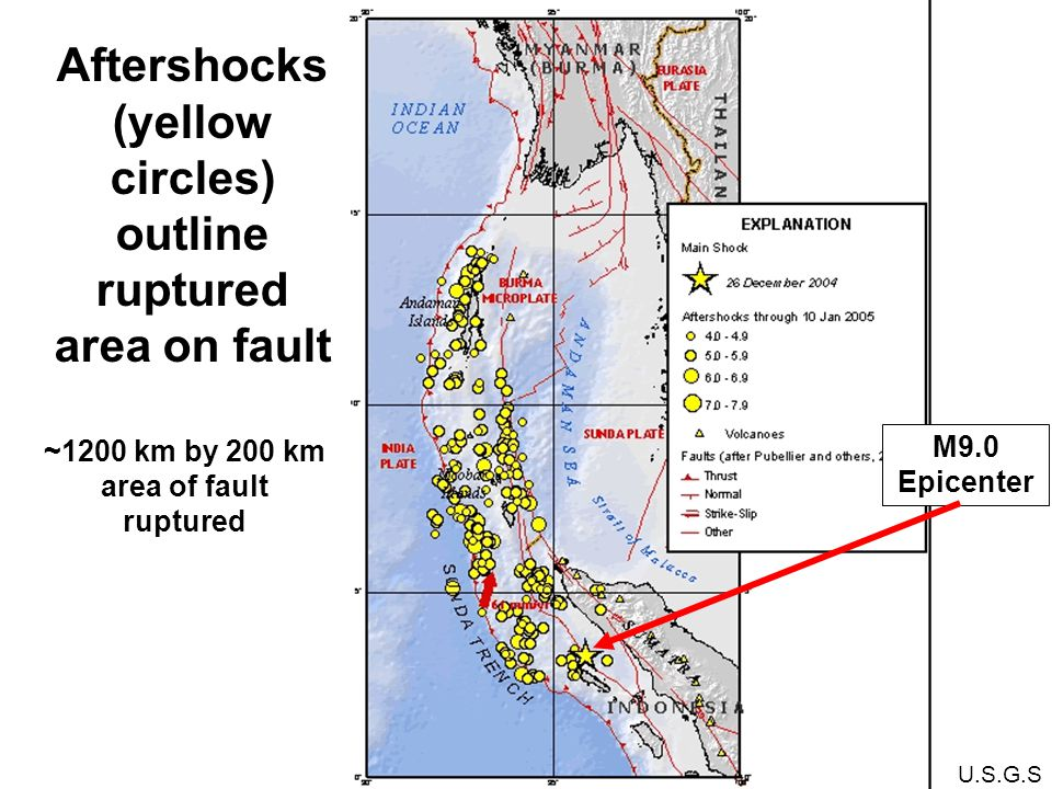 M9.0 Epicenter U.S.G.S Aftershocks (yellow circles) outline ruptured area on fault ~1200 km by 200 km area of fault ruptured