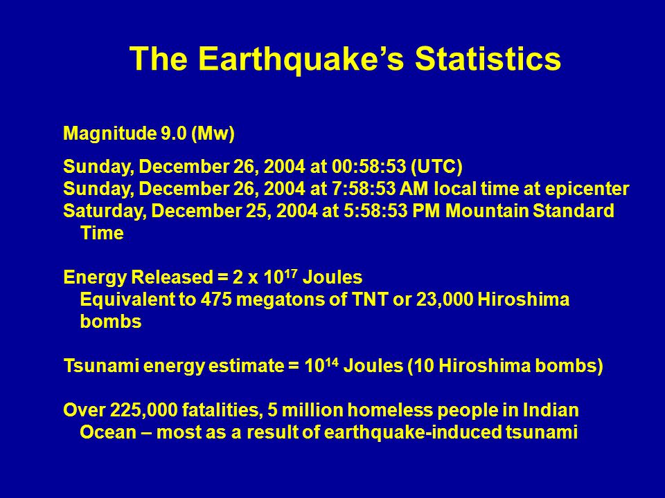 The Earthquake's Statistics Magnitude 9.0 (Mw) Sunday, December 26, 2004 at 00:58:53 (UTC) Sunday, December 26, 2004 at 7:58:53 AM local time at epicenter Saturday, December 25, 2004 at 5:58:53 PM Mountain Standard Time Energy Released = 2 x 10 17 Joules Equivalent to 475 megatons of TNT or 23,000 Hiroshima bombs Tsunami energy estimate = 10 14 Joules (10 Hiroshima bombs) Over 225,000 fatalities, 5 million homeless people in Indian Ocean – most as a result of earthquake-induced tsunami