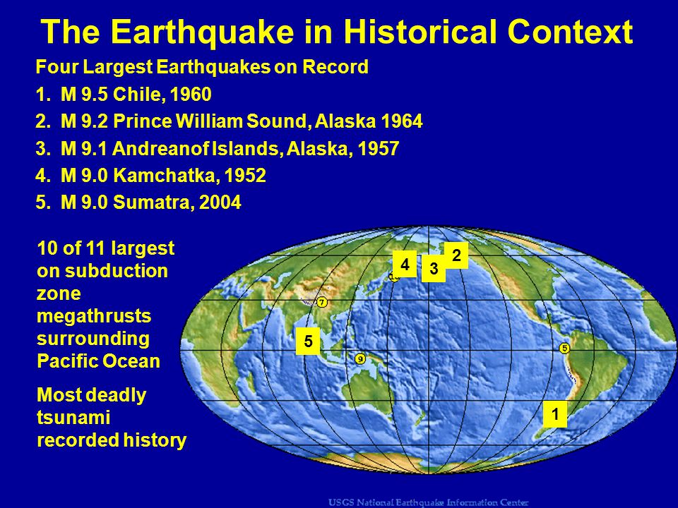 The Earthquake in Historical Context Four Largest Earthquakes on Record 1.M 9.5 Chile, 1960 2.M 9.2 Prince William Sound, Alaska 1964 3.M 9.1 Andreanof Islands, Alaska, 1957 4.M 9.0 Kamchatka, 1952 5.M 9.0 Sumatra, 2004 1 2 3 4 5 10 of 11 largest on subduction zone megathrusts surrounding Pacific Ocean Most deadly tsunami recorded history
