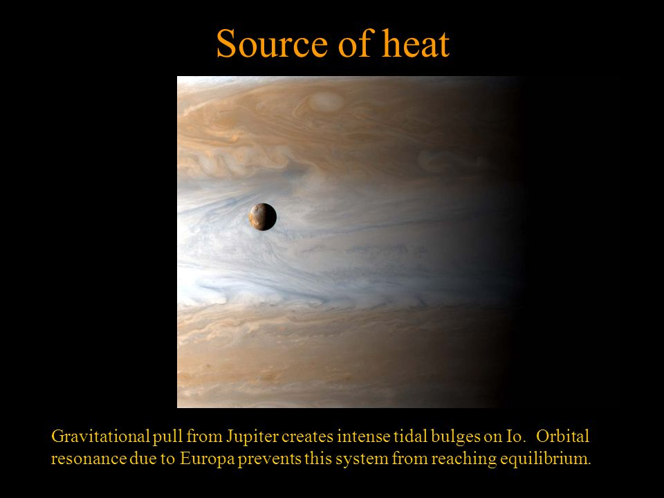Source of heat Gravitational pull from Jupiter creates intense tidal bulges on Io.