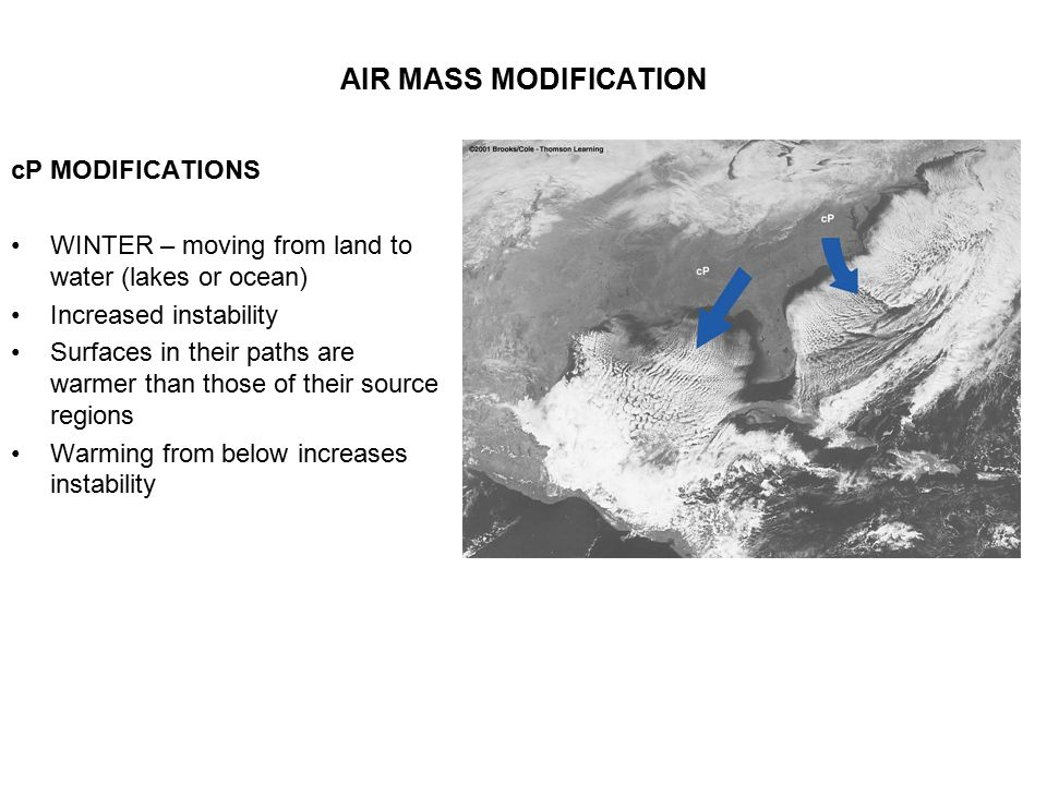 AIR MASS MODIFICATION cP MODIFICATIONS WINTER – moving from land to water (lakes or ocean) Increased instability Surfaces in their paths are warmer th