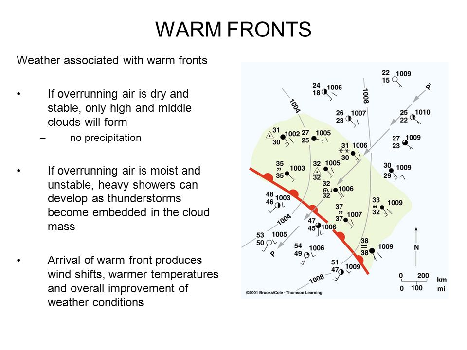 WARM FRONTS Weather associated with warm fronts If overrunning air is dry and stable, only high and middle clouds will form – no precipitation If over