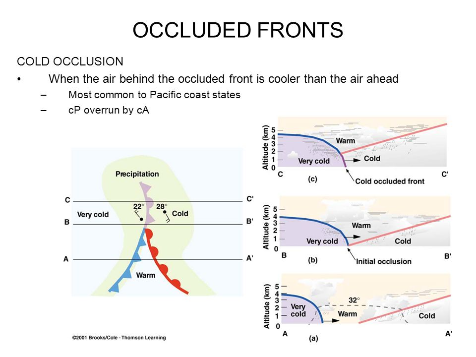 OCCLUDED FRONTS COLD OCCLUSION When the air behind the occluded front is cooler than the air ahead –Most common to Pacific coast states –cP overrun by