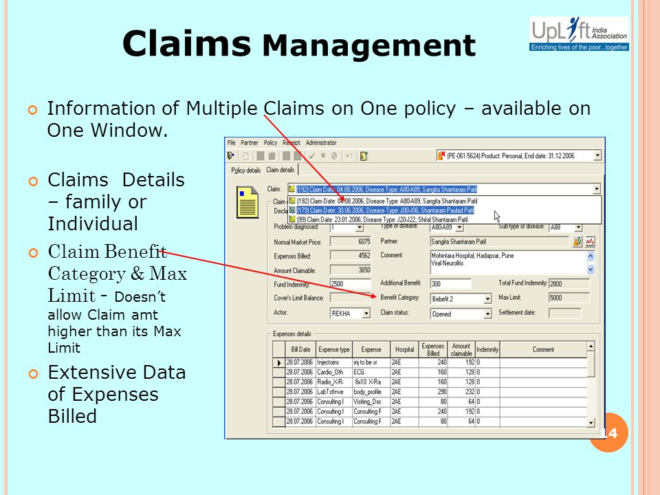 Information of Multiple Claims on One policy – available on One Window.