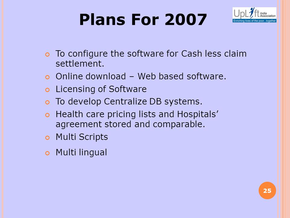 Plans For 2007 To configure the software for Cash less claim settlement.