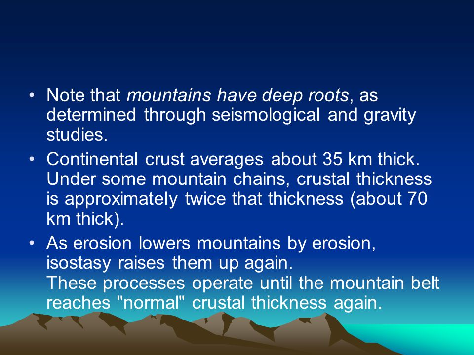 Note that mountains have deep roots, as determined through seismological and gravity studies.