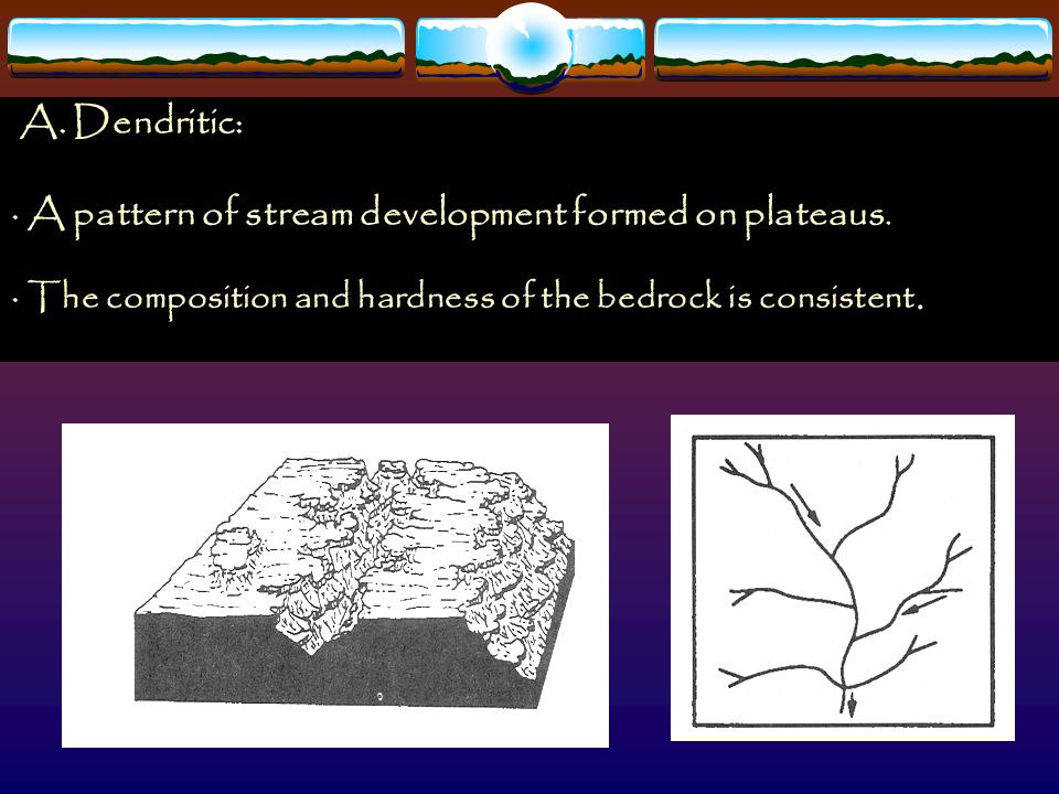 A. Dendritic: · A pattern of stream development formed on plateaus. · The composition and hardness of the bedrock is consistent.