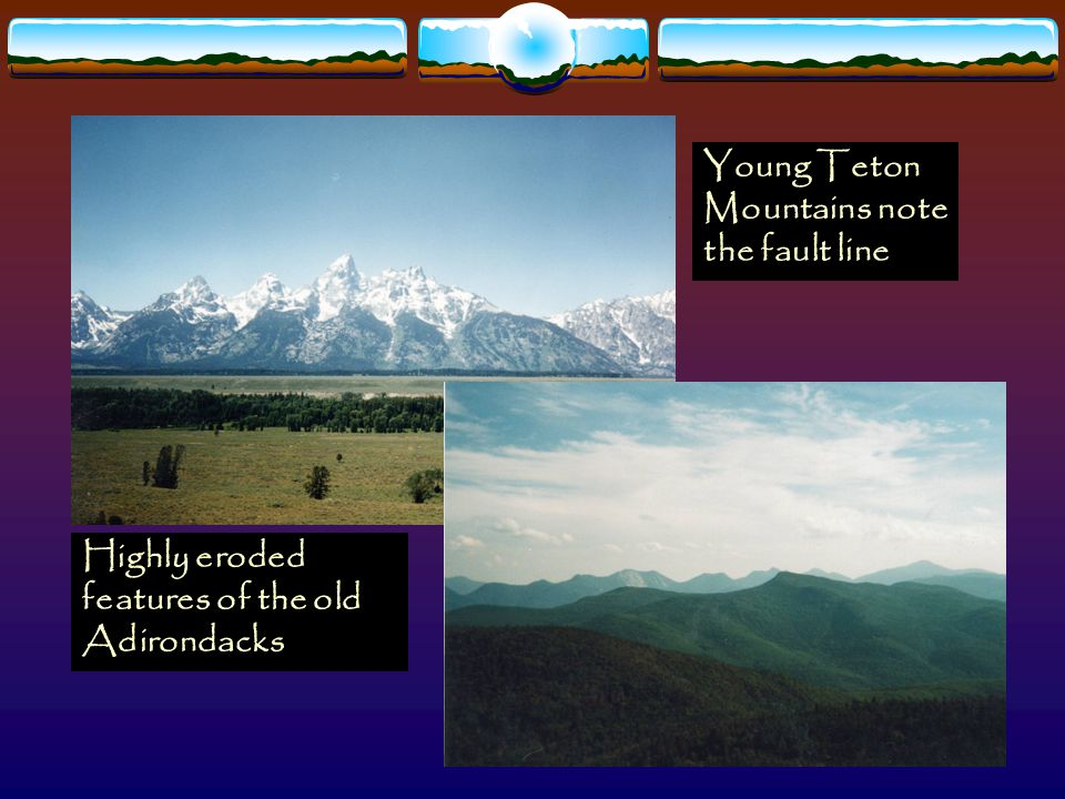 Young Teton Mountains note the fault line Highly eroded features of the old Adirondacks