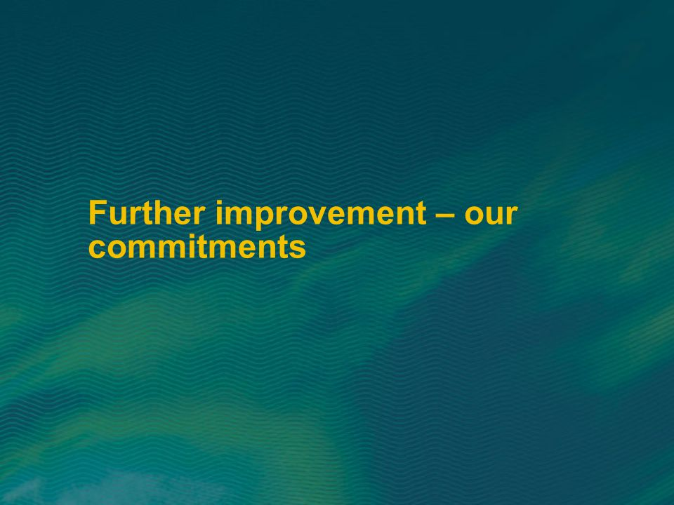 Further improvement – our commitments