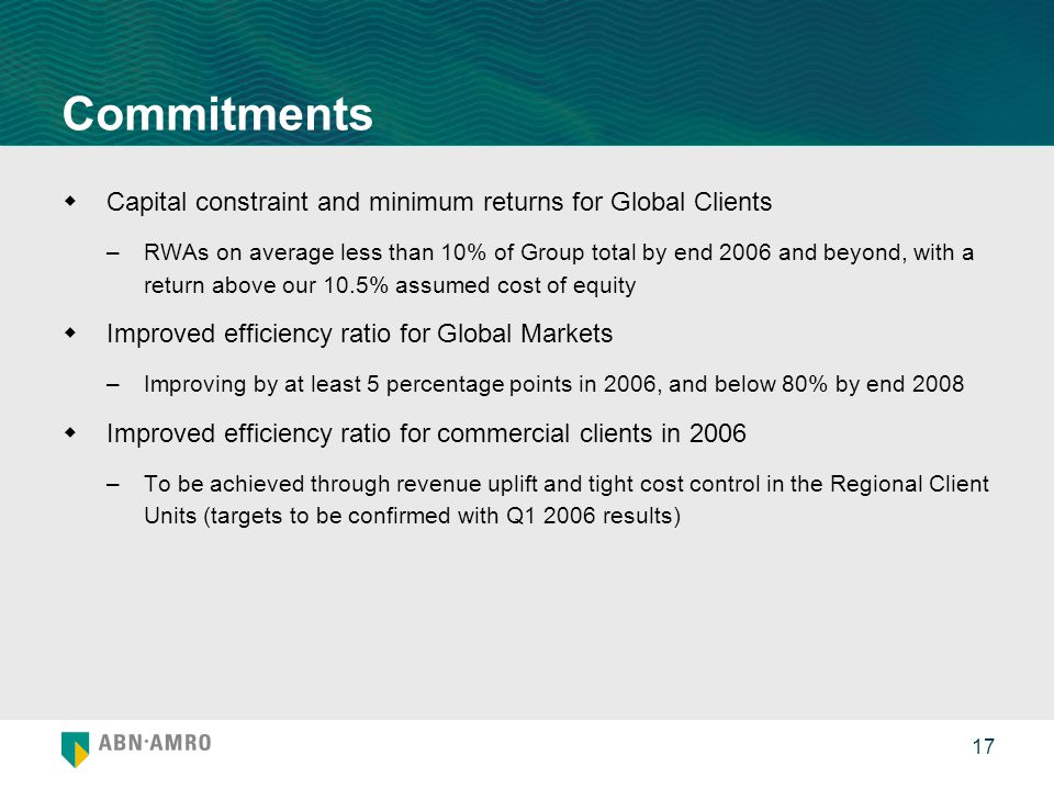17 Commitments  Capital constraint and minimum returns for Global Clients –RWAs on average less than 10% of Group total by end 2006 and beyond, with