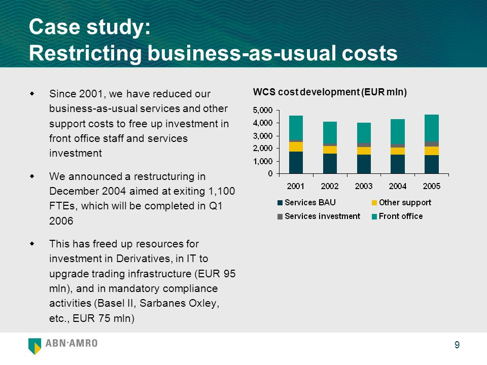 9 Case study: Restricting business-as-usual costs  Since 2001, we have reduced our business-as-usual services and other support costs to free up inve