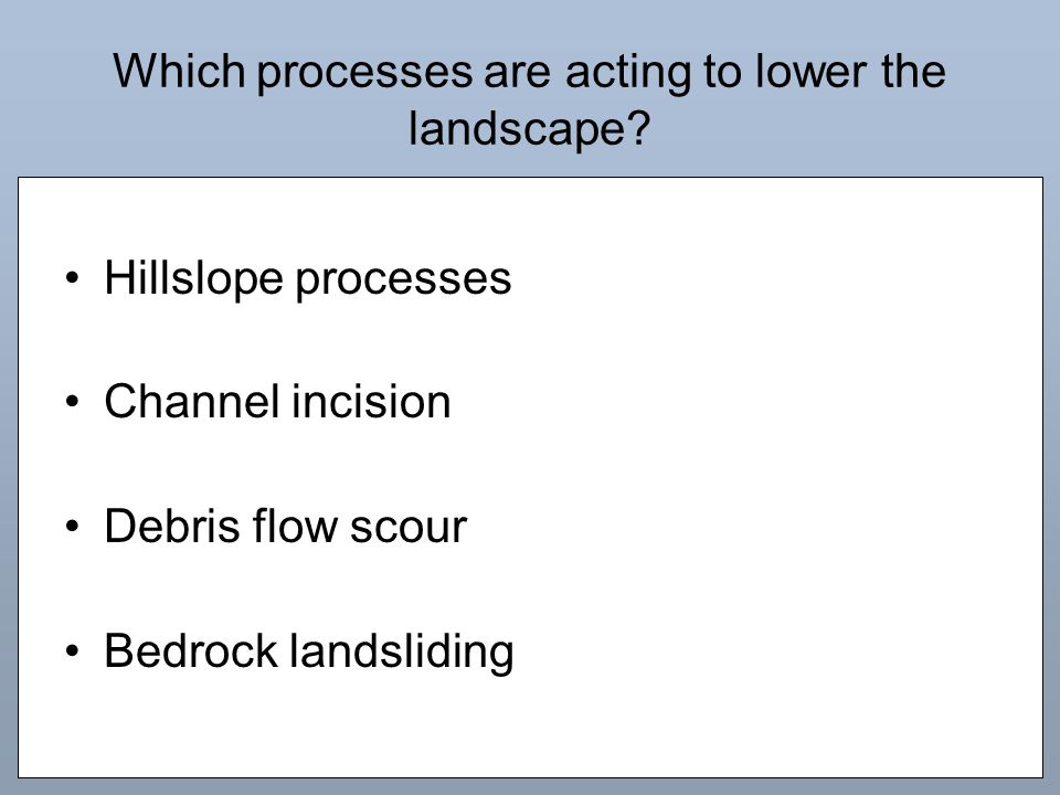Which processes are acting to lower the landscape.