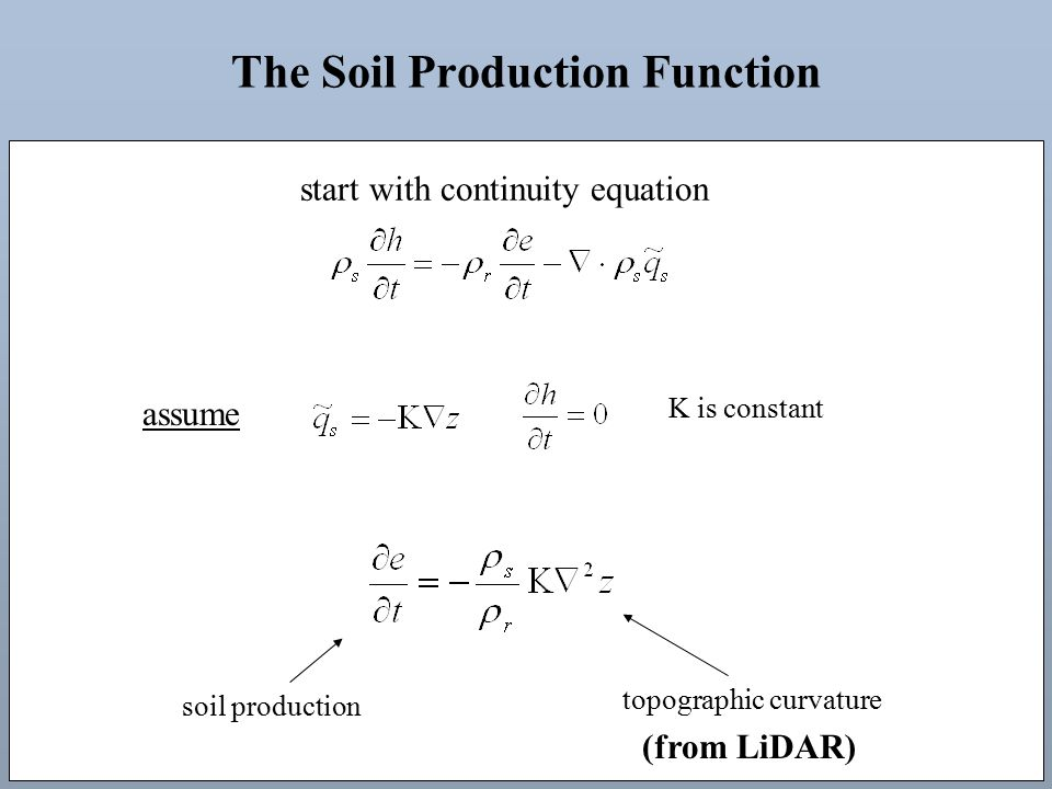 The Soil Production Function assume start with continuity equation K is constant soil production topographic curvature (from LiDAR)