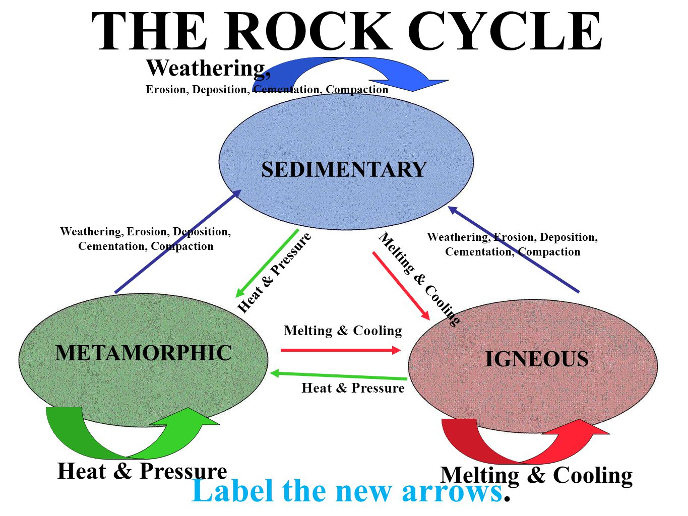 THE ROCK CYCLE Label the new arrows. SEDIMENTARY METAMORPHIC Heat & Pressure IGNEOUS Heat & Pressure Weathering, Erosion, Deposition, Cementation, Com