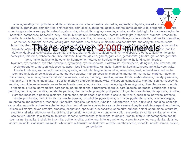There are over 2,000 minerals alunite, amethyst, amphibole, analcite, anatase, andalusite, andesine, andradite, anglesite, anhydrite, ankerite, annabergite, anorthite, anthonyite, anthophyllite, anthraconite, anthraxolite, antigorite, apatite, aphrosiderite, apophyllite, aragonite, ardennite, argentoalgodonite, arsenopyrite, asbestos, atacamite, attapulgite, augite,awarurite, axinite, azurite, babingtonite, baddeleyite, barite, bassetite, bastnaesite, beaconite, beryl, biotite, bismuthinite, blomstrandine, bornite, bowlingite, brannerite, braunite, brochantite, bronzite, brookite, brucite, brunsvigite, buttgenbachite, byssolite, bytownite, calciovolborthite, calcite, calderite, calumetite, carnallite, carnelian, celadonite, celestite, cerargyrite, chabazite, chalcedony, chalcocite, chalconatronite, chalcopyrite, chalcotrichite, chamosite, chert, chloanthite, chlorargyrite, chlorastrolite, chlorite, clinochlore, clino-chrysotile, clinozoisite, collophane, columbite, copiapite, copper, coquimbite, cordierite, corrensite, corundum, covellite, crocidolite, cubanite, cummingtonite, cuprite, dahllite, datolite, daubreelite, delessite, diabantite, diallage, diamond, dickite, digenite, dihydrite, diopside, dioptase, djurleite, dolomite, domeykite, forsterite, francolite, freirinite, fuchsite, fulgurite, galena, garnet, garnierite, gersdorffite, gibbsite, glauconite, goethite, gold, halite, halloysite, halotrichite, harmotome, heterosite, heulandite, hisingerite, hollandite, hornblende, hyacinth, hydrocarbon, hydrohausmannite, hydromica, hydromuscovite, hydrotroilite, hypersthene, iddingsite, illite, ilmenite, isle royale greenstone, jacksonite, jacobsite, jasper, jaspilite, julgoldite, kamacite, kamiokite, kaolinite, kearsargeite, keweenawite, kinoite, koutekite, kupfferite, kutnahorite, kyanite, labradorite, langite, laumontite, lavendulan, lead, lechetelierite, ledouxite, leonhardite, lepidocrocite, lepidolite, manganoan siderite, manganocalcite, marcasite, margarite, mar