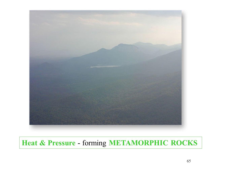 65 Heat & Pressure - forming METAMORPHIC ROCKS