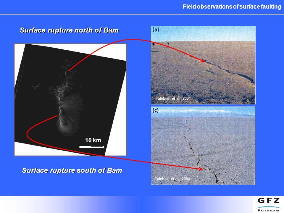 Field observations of surface faulting 10 km Surface rupture north of Bam Surface rupture south of Bam Talebian et al., 2004