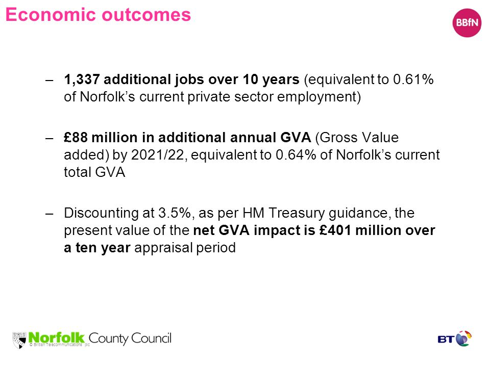 © British Telecommunications plc Economic outcomes –1,337 additional jobs over 10 years (equivalent to 0.61% of Norfolk's current private sector employment) –£88 million in additional annual GVA (Gross Value added) by 2021/22, equivalent to 0.64% of Norfolk's current total GVA –Discounting at 3.5%, as per HM Treasury guidance, the present value of the net GVA impact is £401 million over a ten year appraisal period