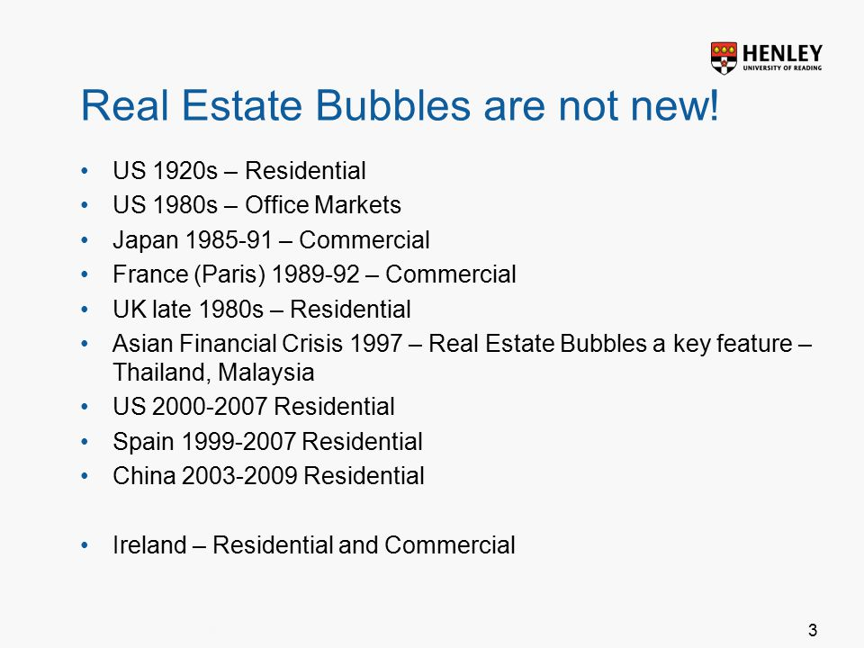 Insert footer on Slide Master3 Real Estate Bubbles are not new.