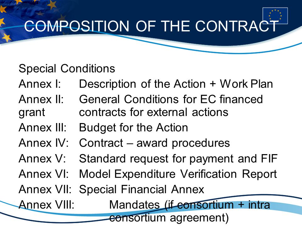 COMPOSITION OF THE CONTRACT Special Conditions Annex I: Description of the Action + Work Plan Annex II: General Conditions for EC financed grant contracts for external actions Annex III: Budget for the Action Annex IV: Contract – award procedures Annex V: Standard request for payment and FIF Annex VI: Model Expenditure Verification Report Annex VII: Special Financial Annex Annex VIII: Mandates (if consortium + intra consortium agreement)