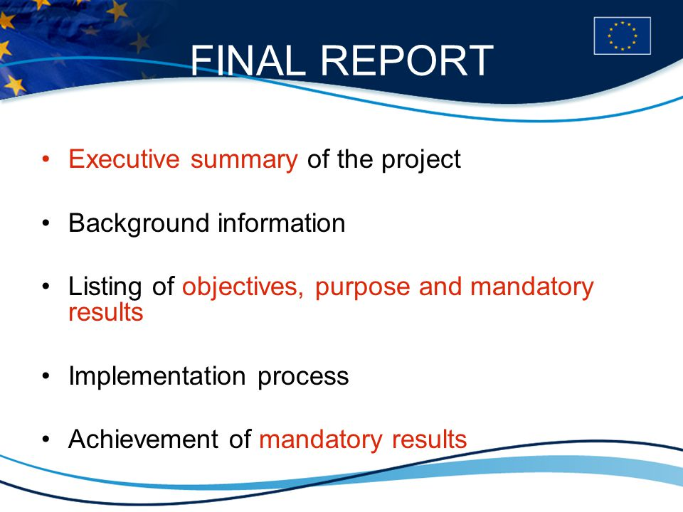 FINAL REPORT Executive summary of the project Background information Listing of objectives, purpose and mandatory results Implementation process Achievement of mandatory results