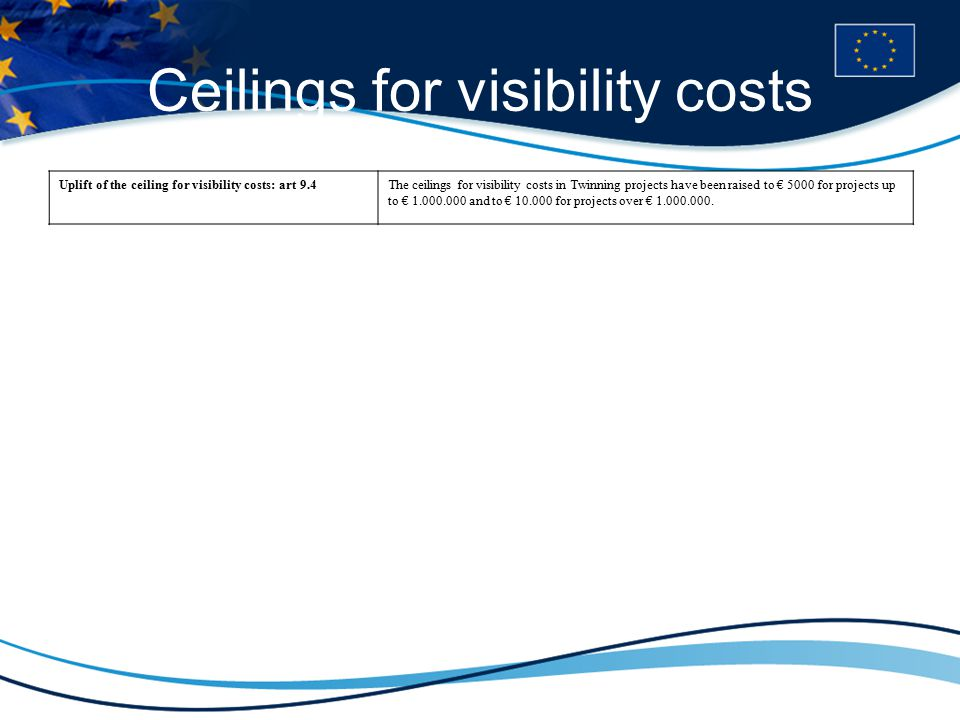 Ceilings for visibility costs Uplift of the ceiling for visibility costs: art 9.4The ceilings for visibility costs in Twinning projects have been raised to € 5000 for projects up to € 1.000.000 and to € 10.000 for projects over € 1.000.000.