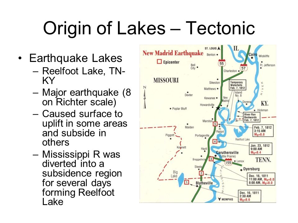 Origin of Lakes - Tectonic Landslide Lakes –Mountain Lake, VA One of two natural lakes in Virginia Formed when landslide dammed a mountain valley The lake is estimated to be about 6,000 years old and geologists believe it must have been formed by rock slides and damming