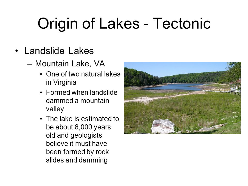 Origin of Lakes - Volcanic Crater/caldera Lakes –Lake occupies a caldera or collapsed volcanic crater/cone –If cone blows out the side like Mt.