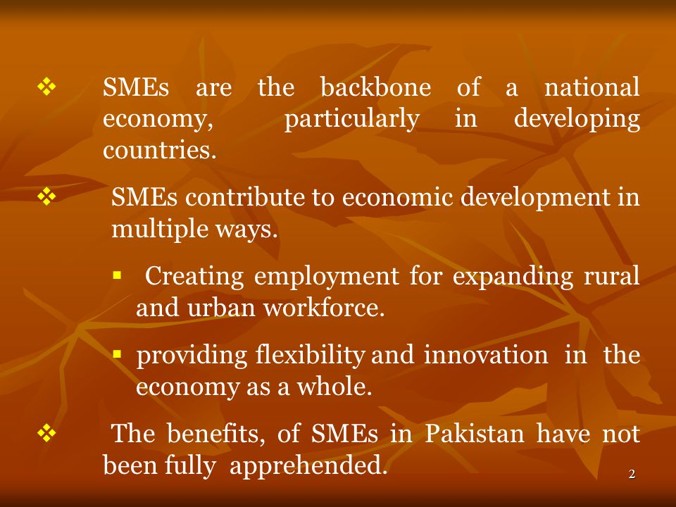 3   Small & Medium Enterprise Development Authority (SMEDA) was formed In 1998 to provide support to SMEs in Pakistan through: 1.