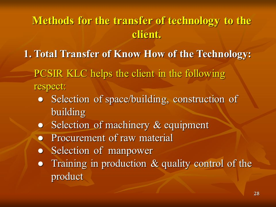 29 2.Production at PCSIR Site by the PCSIR Scientists: PCSIR responsibilities  The production, either at pilot scale or at industrial scale  Setting up of the plant, purchase of raw material  Quality control The client will market the product