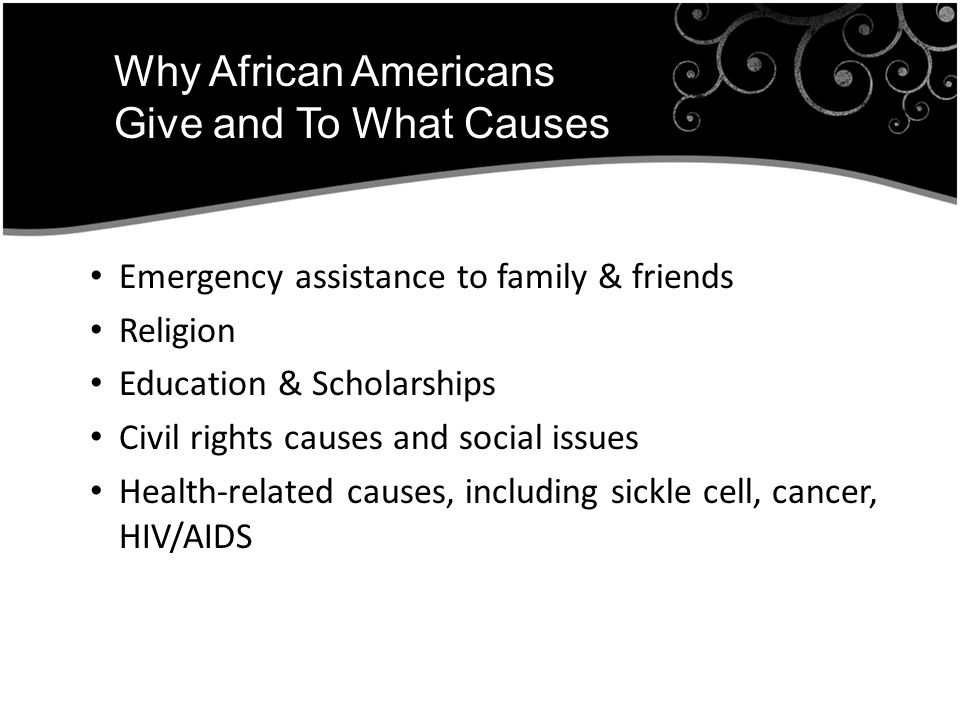 Emergency assistance to family & friends Religion Education & Scholarships Civil rights causes and social issues Health-related causes, including sickle cell, cancer, HIV/AIDS Why African Americans Give and To What Causes