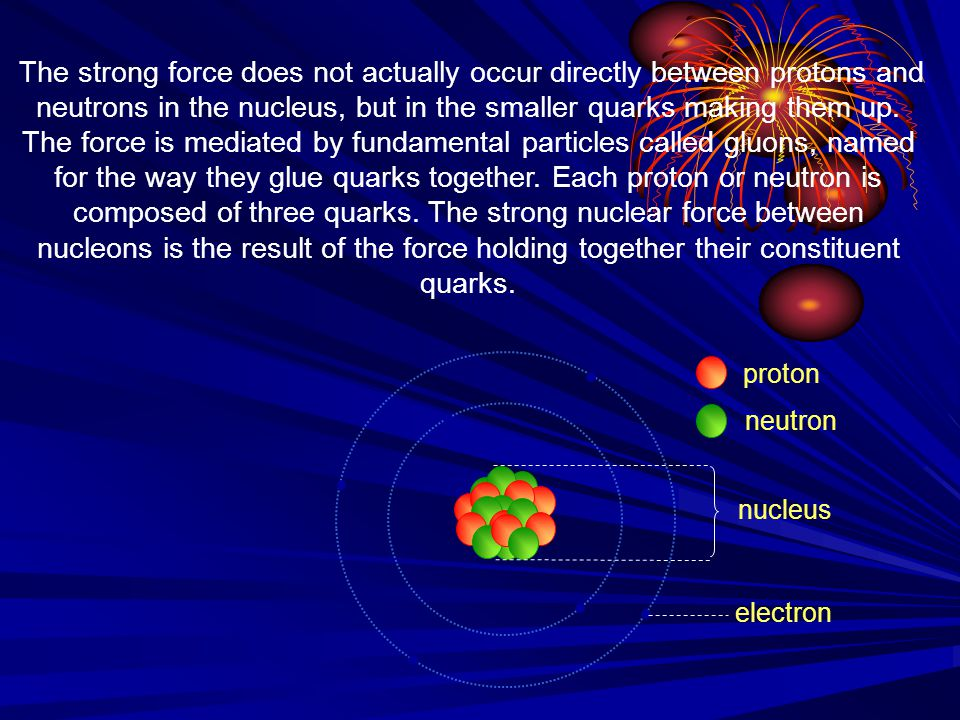 nucleus proton neutron electron The strong force does not actually occur directly between protons and neutrons in the nucleus, but in the smaller quar