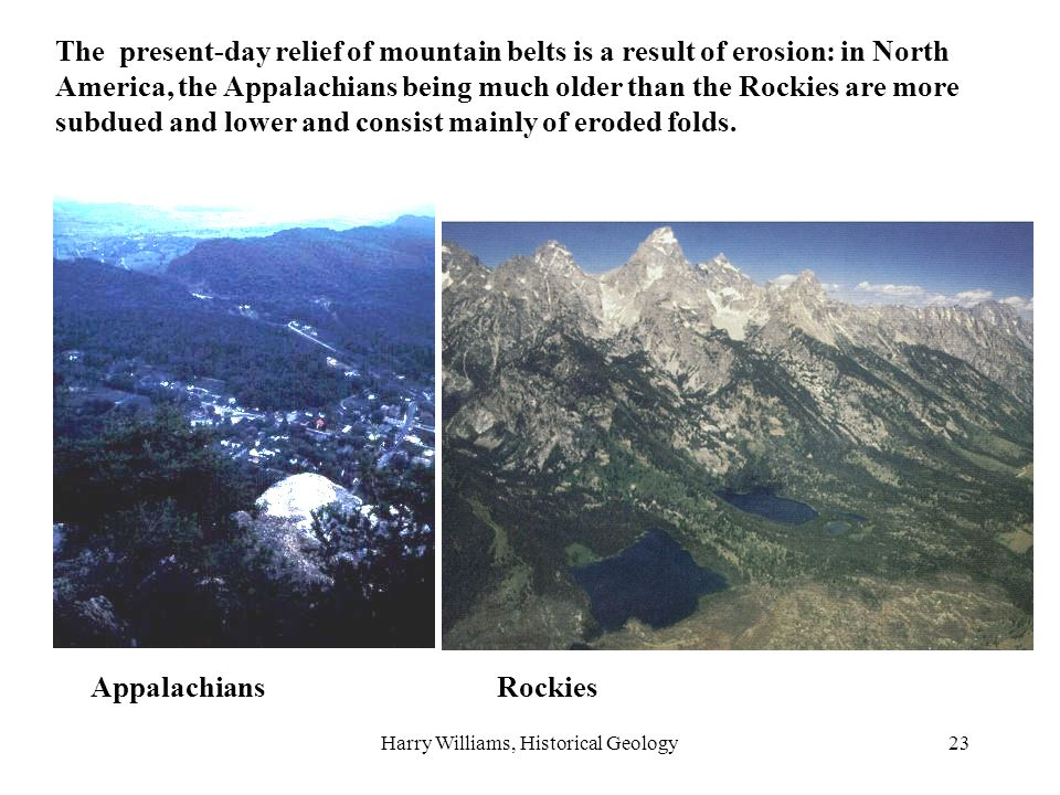 Harry Williams, Historical Geology23 The present-day relief of mountain belts is a result of erosion: in North America, the Appalachians being much older than the Rockies are more subdued and lower and consist mainly of eroded folds.