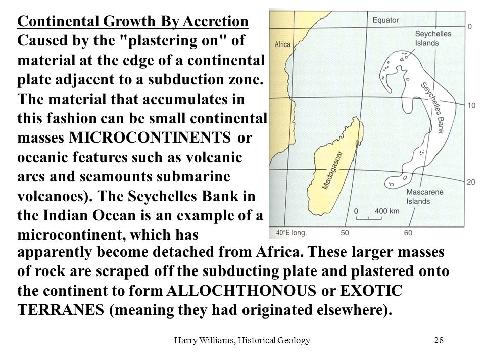 Harry Williams, Historical Geology28 Continental Growth By Accretion Caused by the plastering on of material at the edge of a continental plate adjacent to a subduction zone.