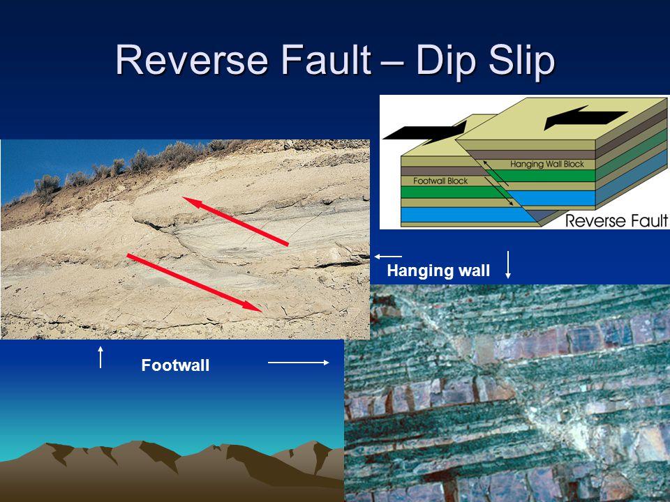 Reverse Fault – Dip Slip Footwall Hanging wall