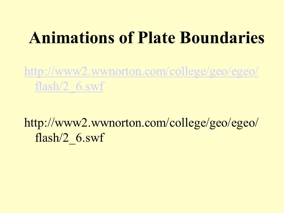 Animations of Plate Boundaries http://www2.wwnorton.com/college/geo/egeo/ flash/2_6.swf http://www2.wwnorton.com/college/geo/egeo/ flash/2_6.swf
