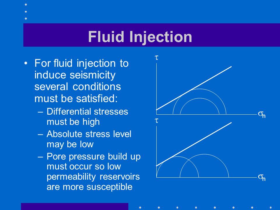Fluid Injection For fluid injection to induce seismicity several conditions must be satisfied: –Differential stresses must be high –Absolute stress level may be low –Pore pressure build up must occur so low permeability reservoirs are more susceptible  nn  nn