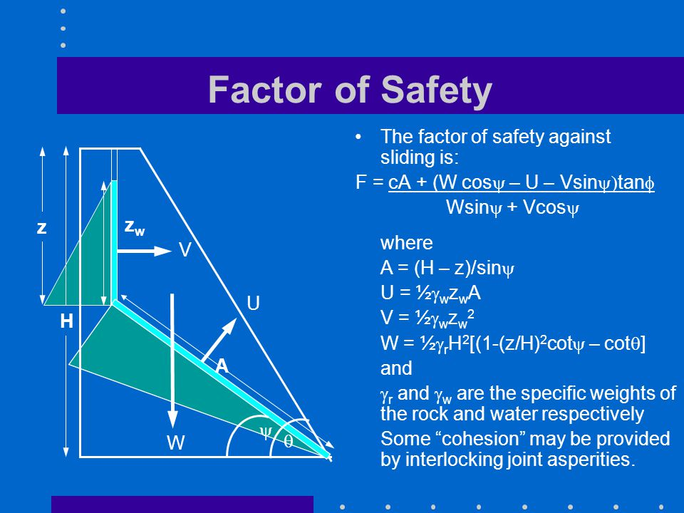 Factor of Safety The factor of safety against sliding is: F = cA + (W cos  – U – Vsin  tan  Wsin  + Vcos  W U V   where A = (H – z)/sin  U = ½  w z w A V = ½  w z w 2 W = ½  r H 2 [(1-(z/H) 2 cot  – cot  ] and  r and  w are the specific weights of the rock and water respectively Some cohesion may be provided by interlocking joint asperities.