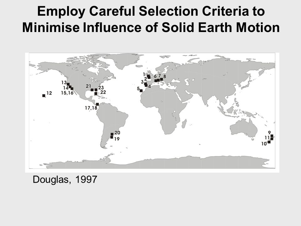 Douglas, 1997 Employ Careful Selection Criteria to Minimise Influence of Solid Earth Motion