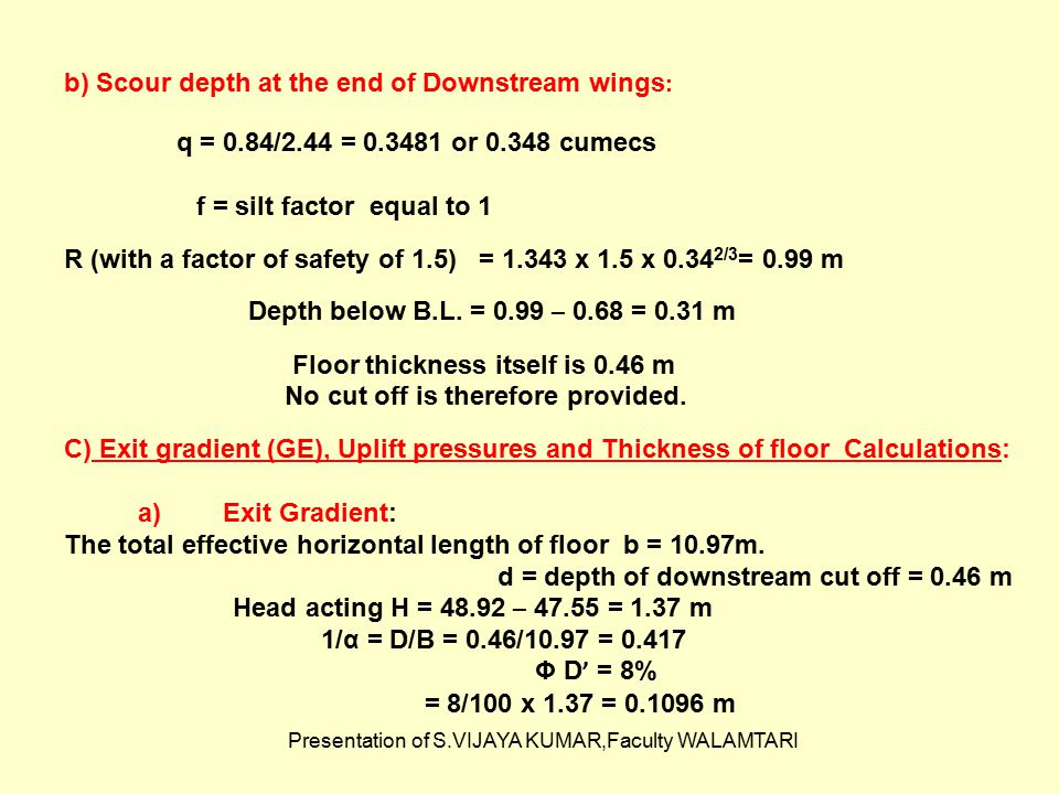 Presentation of S.VIJAYA KUMAR,Faculty WALAMTARI b) Scour depth at the end of Downstream wings : q = 0.84/2.44 = 0.3481 or 0.348 cumecs f = silt facto