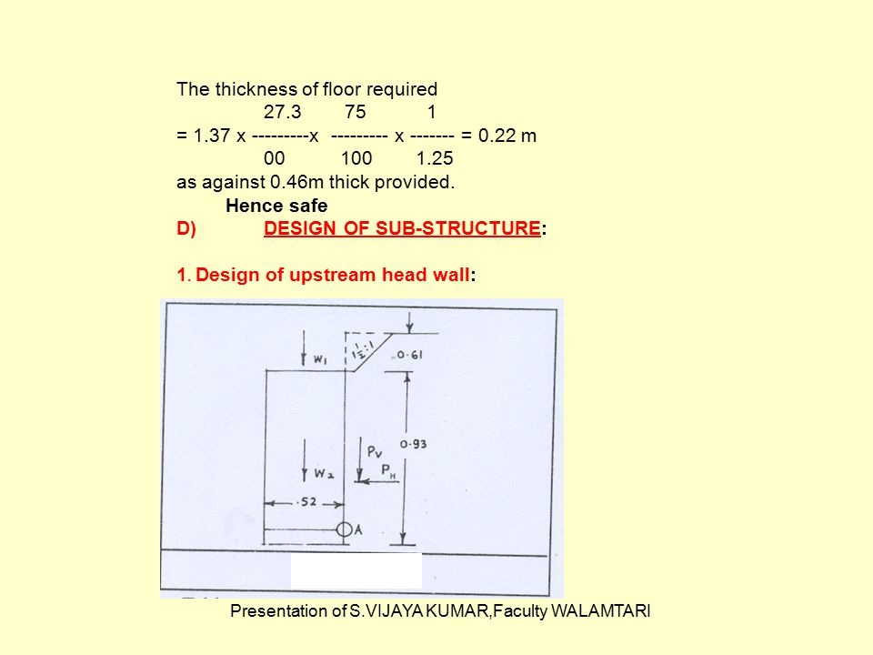 Presentation of S.VIJAYA KUMAR,Faculty WALAMTARI The thickness of floor required 27.3 75 1 = 1.37 x ---------x --------- x ------- = 0.22 m 00 100 1.2