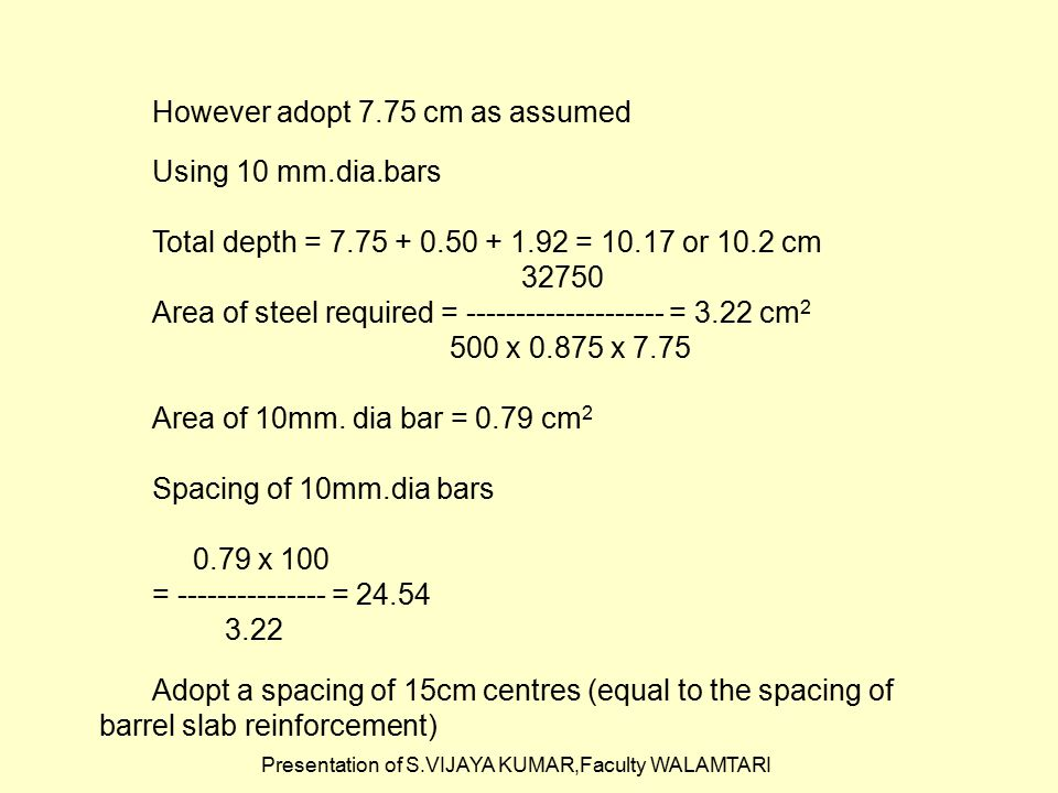 Presentation of S.VIJAYA KUMAR,Faculty WALAMTARI However adopt 7.75 cm as assumed Using 10 mm.dia.bars Total depth = 7.75 + 0.50 + 1.92 = 10.17 or 10.