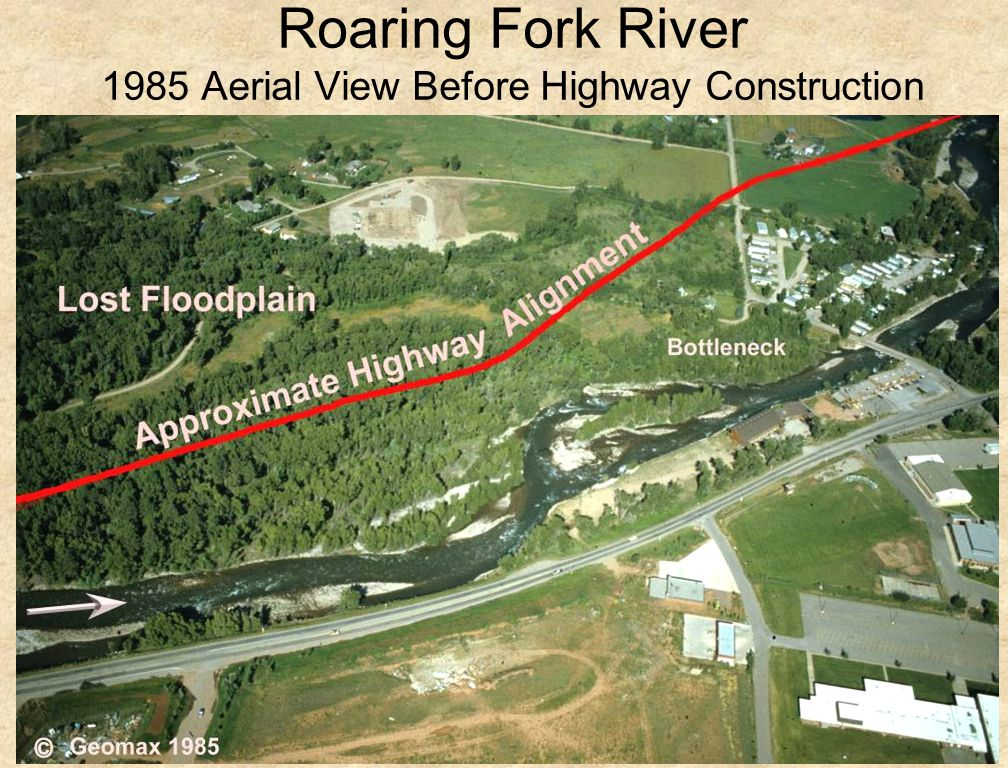 44 Roaring Fork River 1985 Aerial View Before Highway Construction