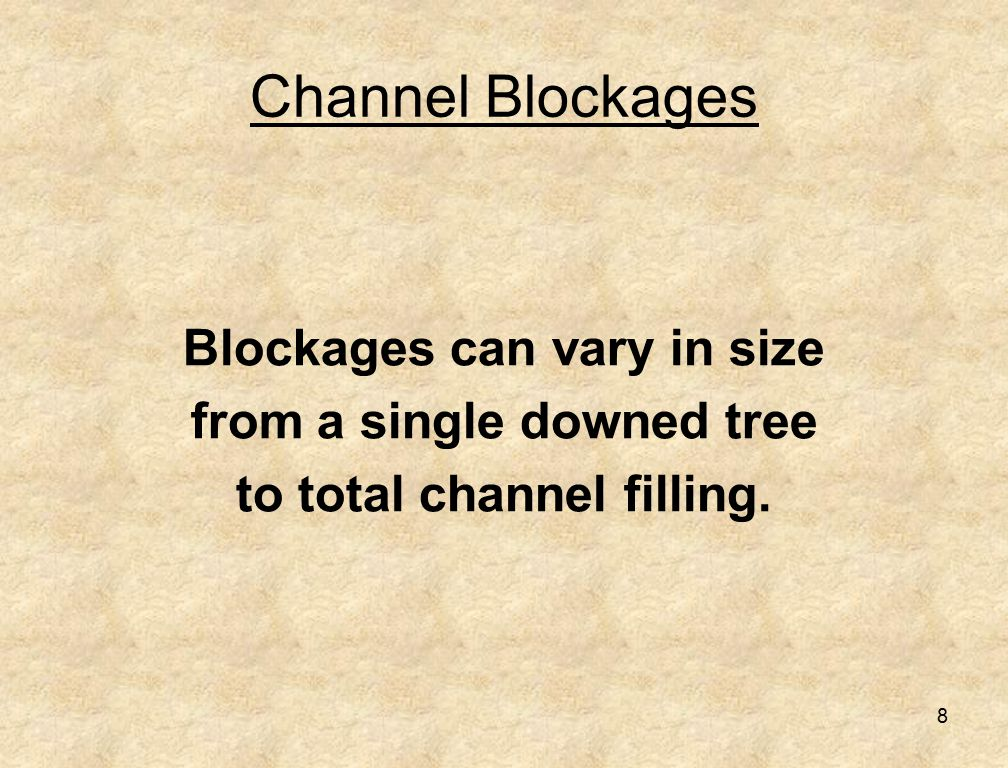 8 Channel Blockages Blockages can vary in size from a single downed tree to total channel filling.