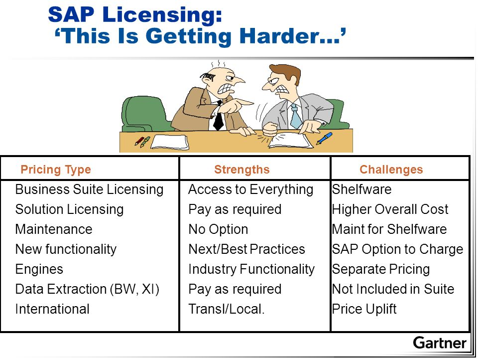 SAP Licensing: 'This Is Getting Harder…' Business Suite LicensingAccess to Everything Shelfware Solution Licensing Pay as required Higher Overall Cost Maintenance No Option Maint for Shelfware New functionality Next/Best Practices SAP Option to Charge Engines Industry Functionality Separate Pricing Data Extraction (BW, XI) Pay as required Not Included in Suite International Transl/Local.